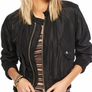 Free People Black Bomber Jacket